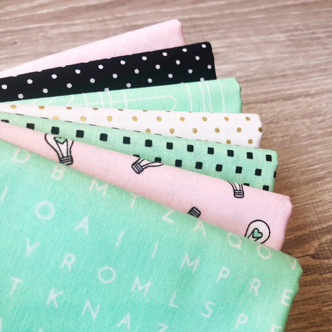 FABRIC (Fat Quarter Bundle): Shine Bright Mint with Gold Sparkle Swiss Dot