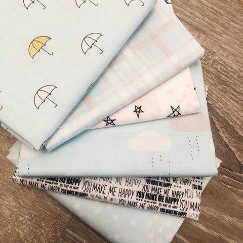 FABRIC (Fat Quarter Bundle):  When Skies Are Grey Fabric (Blue)