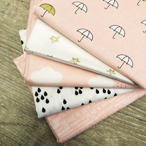 FABRIC (Fat Quarter Bundle): When Skies Are Grey Fabric (Pink)