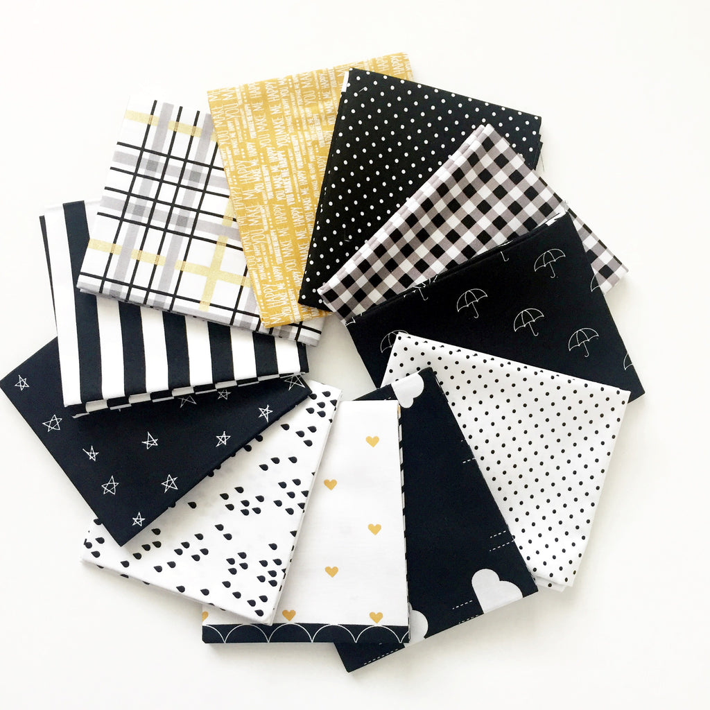 FABRIC (Fat Quarter Bundle):  When Skies Are Grey Fat Quarter Bundle (Black)