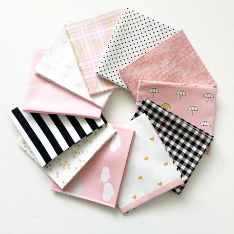 FABRIC (Fat Quarter Bundle):  When Skies Are Grey Fat Quarter Bundle (Pink)