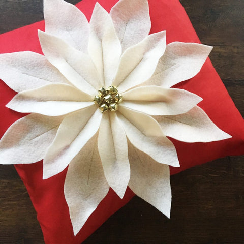 PATTERN (PAPER): Poinsettia Pillow Instructions and Template