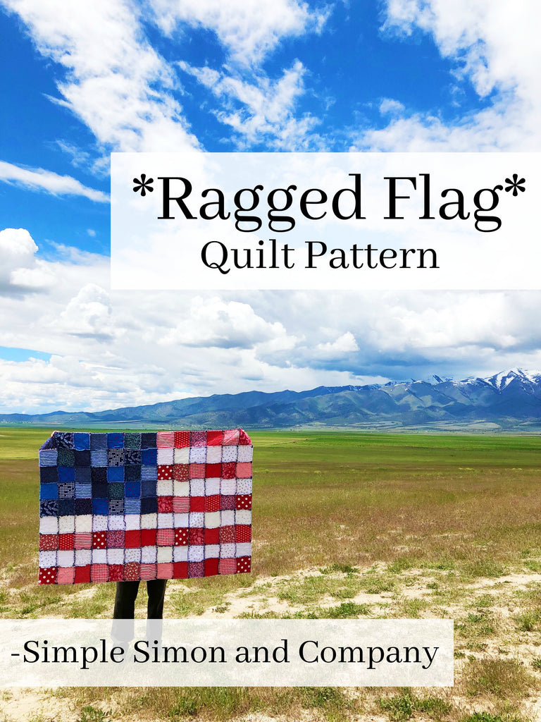 PATTERN (PDF): Ragged Flag Quilt PDF Pattern (Immediate Download)