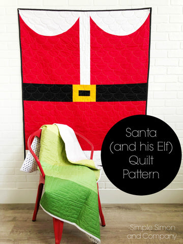 PATTERN (PDF):  Santa (and His Elf ) Quilt Pattern (Immediate Download)