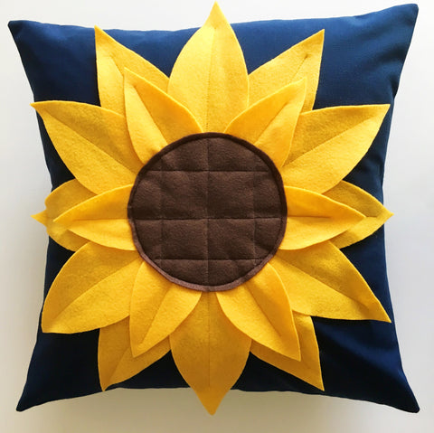 KIT (Pillow):  Sunflower Pillow Kit (Navy)