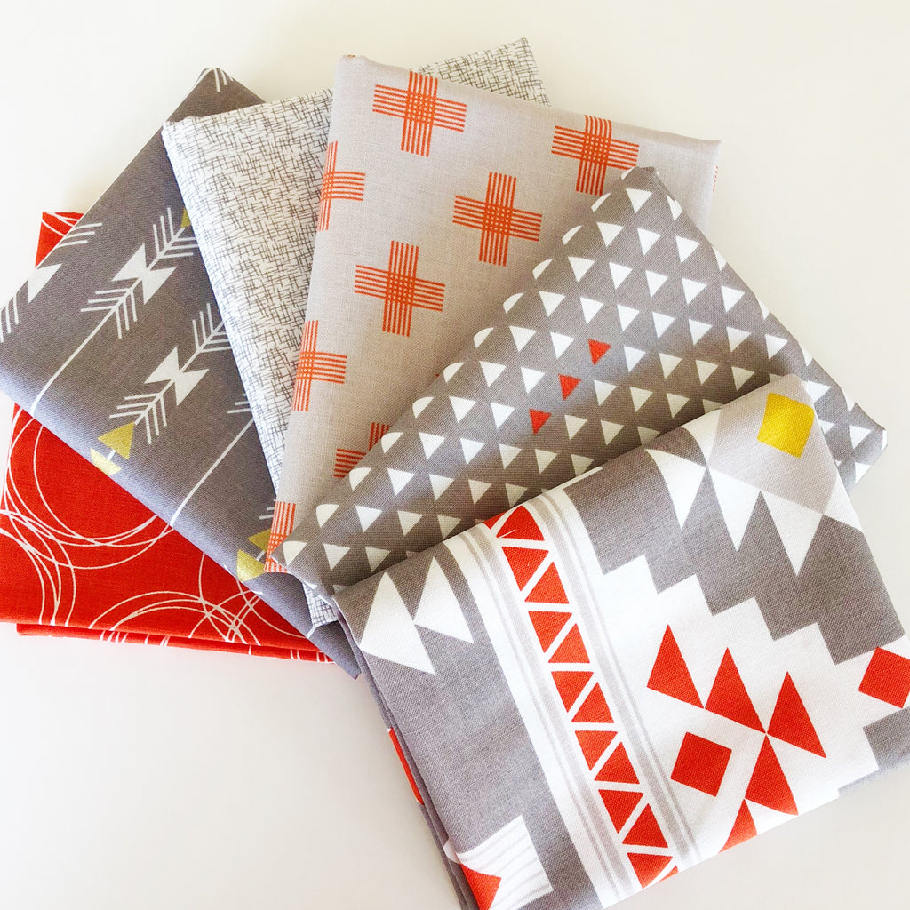 FABRIC (Fat Quarter Bundle):  Four Corners Grey