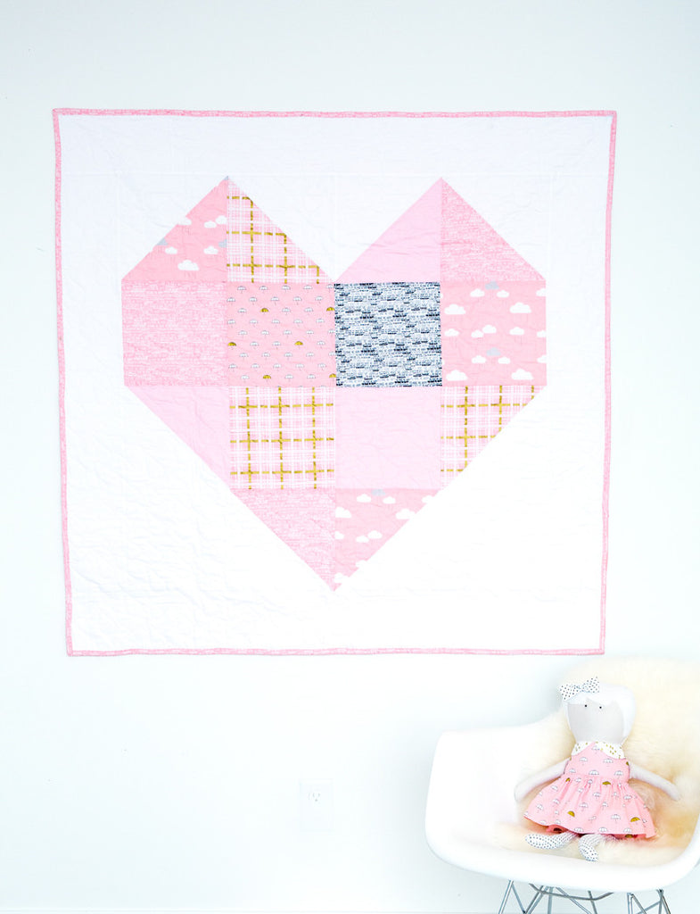 KIT (Quilt):  Baby/Toddler Heart Quilt Kit (Pink, White, and Gold)