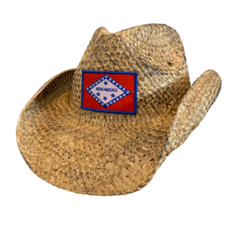 Arkansas Flag Straw Cowboy Hat