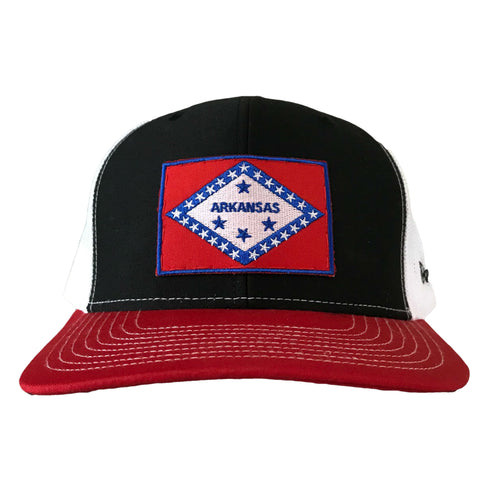 Arkansas Flag Hat - Black/Red