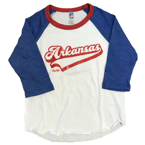 AR Script Kids Raglan - White/Blue/Red