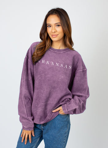 Hometown Corded Sweatshirt - Purple