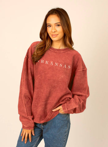 Hometown Corded Sweatshirt - Red