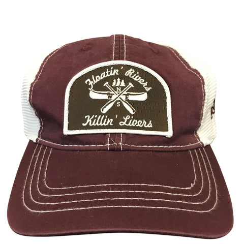 Floatin' Rivers Hat - Maroon/White Unstructured