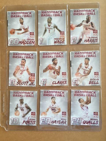 2014 Arkansas Razorbacks Basketball Senior Day Set of Cards