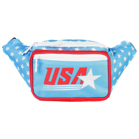 Fanny Pack - Retro Light Blue USA