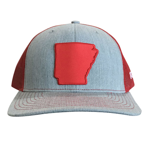 State of AR Hat - Snap Back Grey/Red