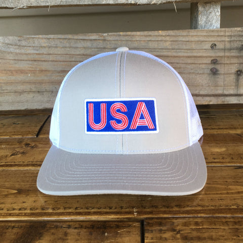 USA Hat - Silver/White