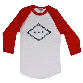 Arkansas Flag Raglan - White/Red
