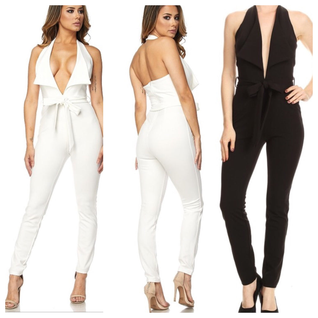 Crystal Halter Deep V Jumpsuit