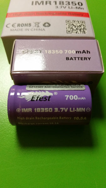 Efest Purple  IMR18350 700mah High Drain Lithium Battery with flat top