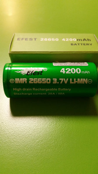 Efest Green IMR 26650 3.7V 4200mah Flat top Lithium Battery