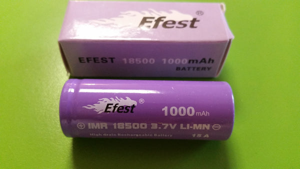 Efest Purple High Drain IMR 18500 1000mah Lithium Battery with flat top