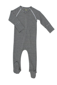 nui organic merino thermal rib zip bodysock B&W stripe