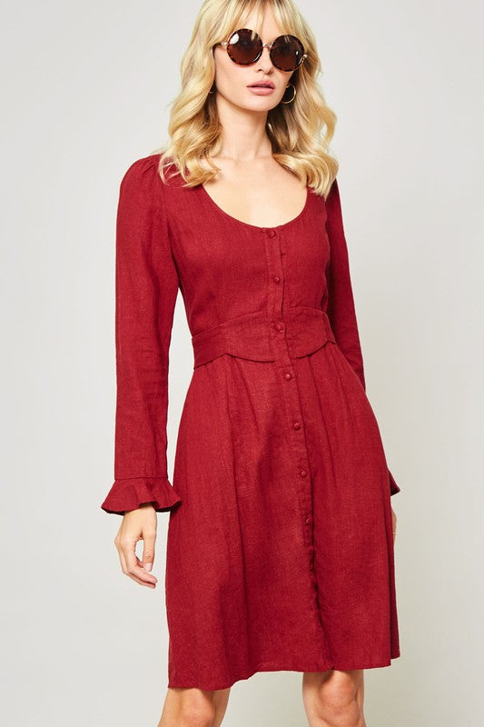 Long Sleeve Burgundy Dress