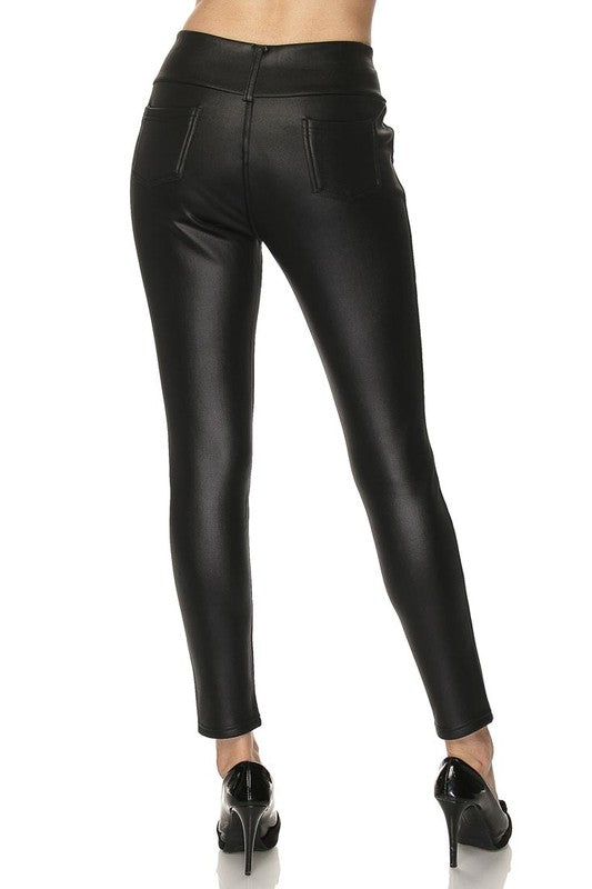 Fleece Lined Pleather Leggings - Trunk Up