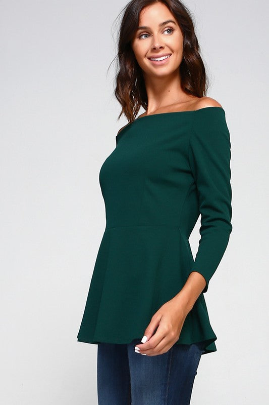 Peppy Peplum in Hunter Green - Trunk Up