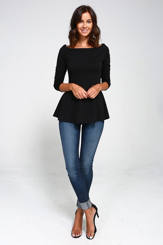 Peppy Peplum in Black - Trunk Up