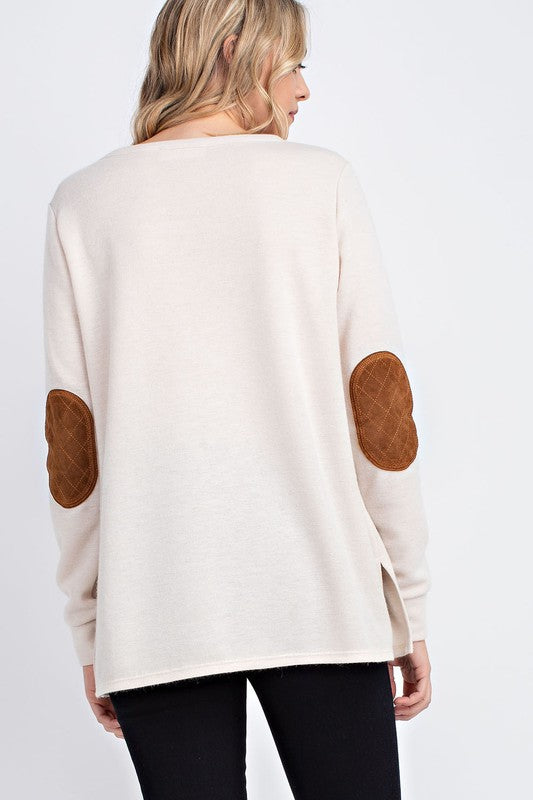 Faux Suede Patch Pullover