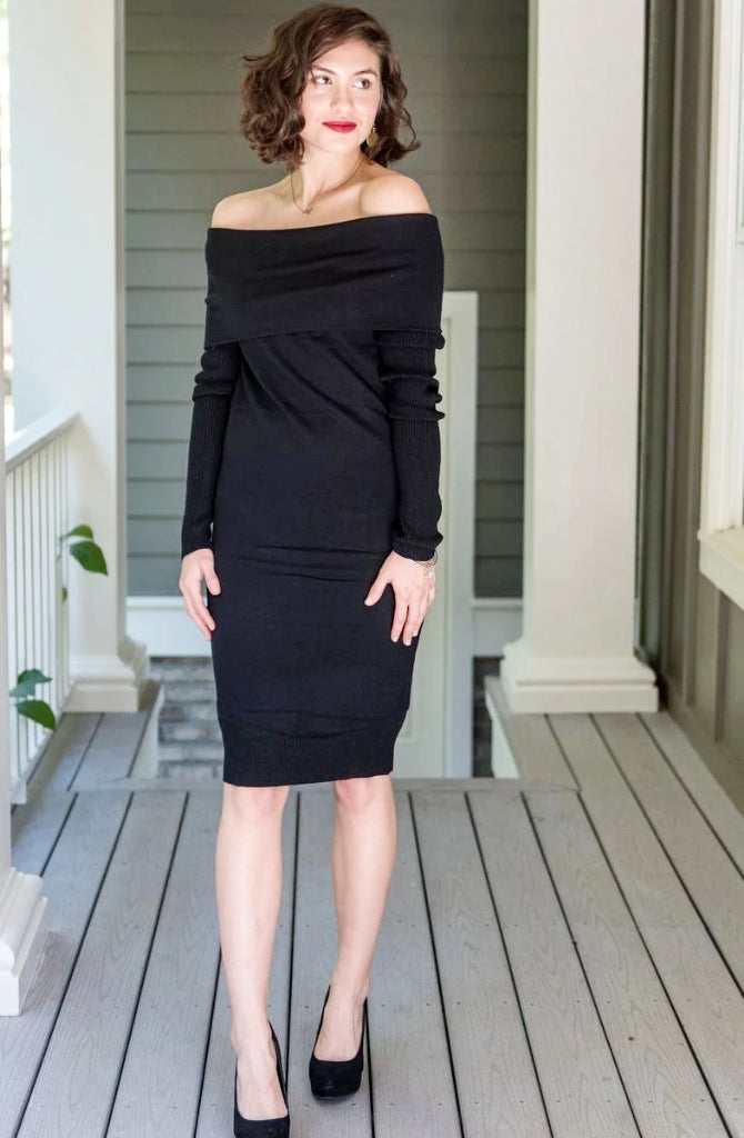 Versatile Sweater Dress (On and Off-Shoulder)