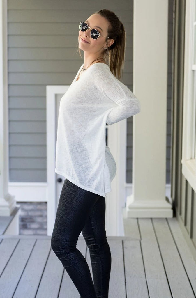 V-Neck Drop Shoulder Top