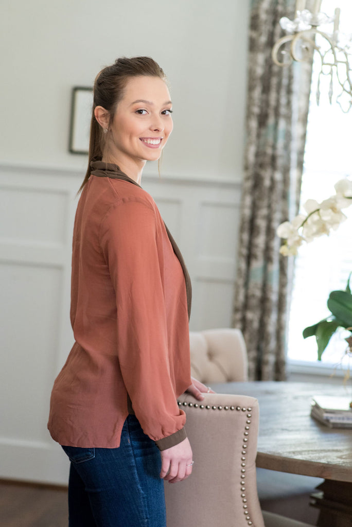 Pink & Brown V-Plunge Blouse