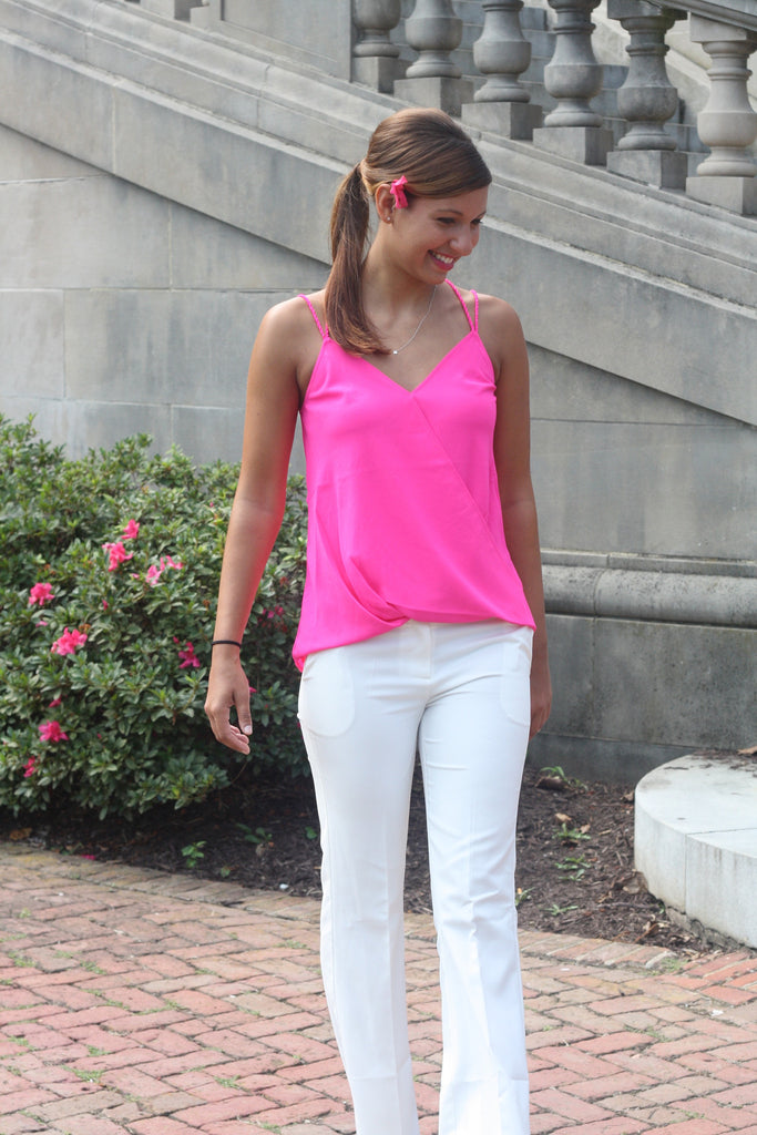 Neon Pink Surplice Top - Trunk Up