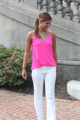 Neon Pink Surplice Top - Trunk Up - 1