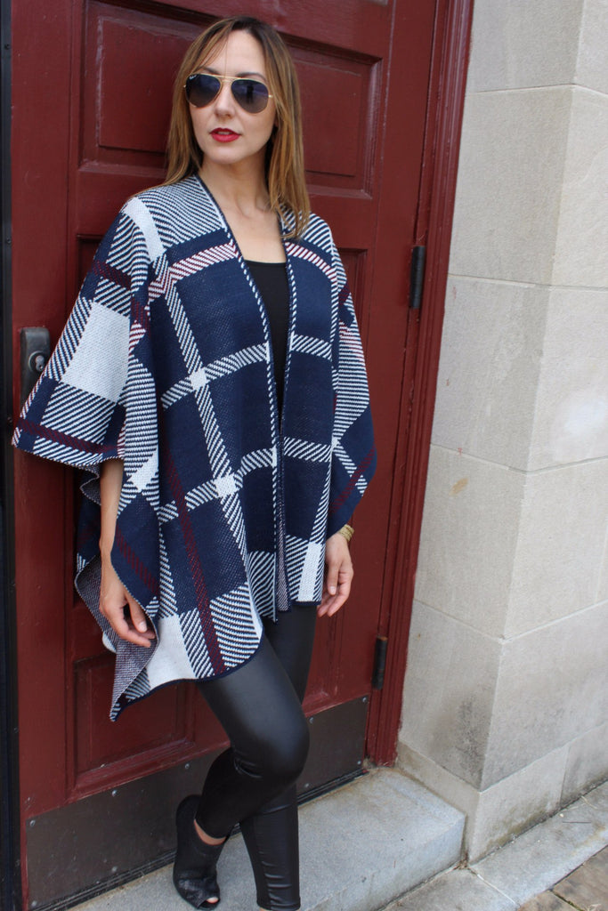 Navy Plaid Poncho - Trunk Up