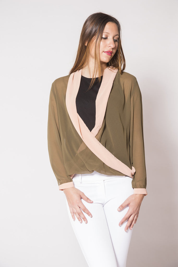 Olive & Cream V-Plunge Blouse - Trunk Up