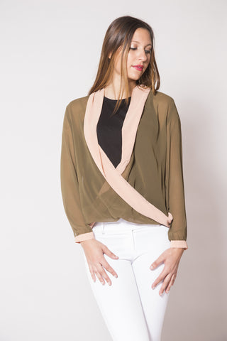Olive & Cream V-Plunge Blouse - Trunk Up - 1