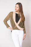 Olive & Cream V-Plunge Blouse - Trunk Up - 2
