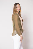 Olive & Cream V-Plunge Blouse - Trunk Up - 3
