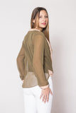 Olive & Cream V-Plunge Blouse - Trunk Up - 4