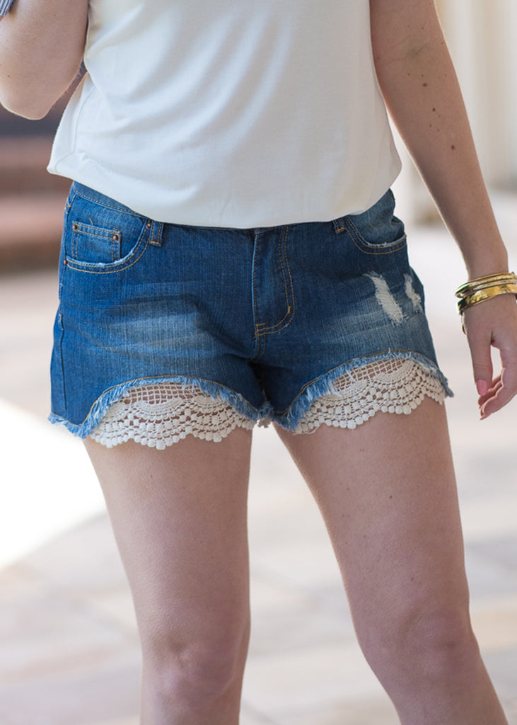 Lace Denim Shorts - Trunk Up