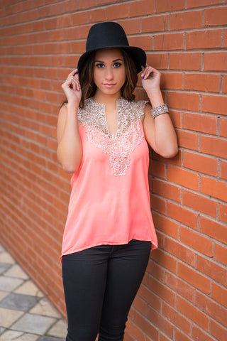 Neon Coral Lace Top - Trunk Up
