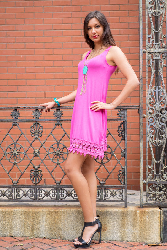 Fuchsia Lace Bottom Dress - Trunk Up