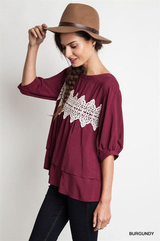 Burgundy Boho Top - Trunk Up - 1
