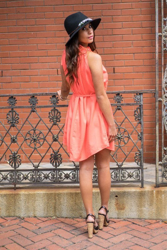 Neon Coral Dress - Trunk Up