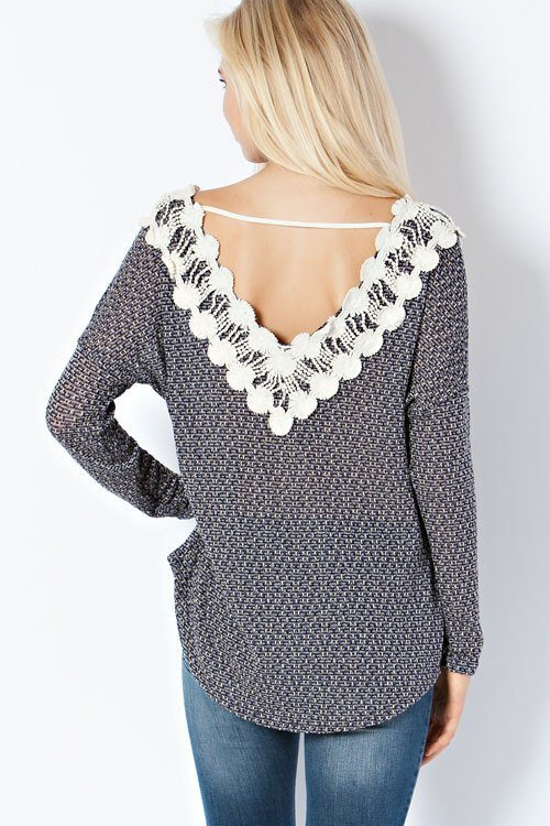Blue Crochet Sweater - Trunk Up