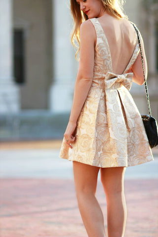 Metallic Bow Back Dress Trunk Up